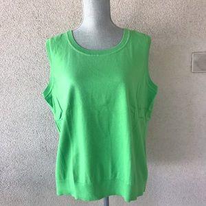 Talbots Pima Blend Sweater Tank Shell 2X Green